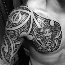 tribal half sleeve and chest taurus themed designs