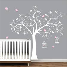amazon com wall decals wall stickers tree decal with birds amazon com wall decals wall stickers tree decal with birds birdcages nursery wall decals wall stickers wall art girls nursery decor handmade