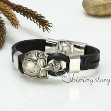 leather wrist bracelet images Skull bracelets genuine leather wristbands bracelets gothic punk jpg