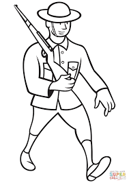 ww1 british soldier marching with rifle coloring page free