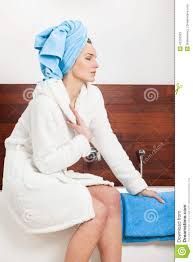 woman relaxing after shower stock photo image 42330503