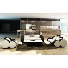 Modern Leather Sofa Sets Casa 3089 Modern White And Black Bonded Leather Sofa Set And Ottoman