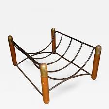 danish log holder in iron u0026 wood