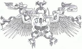 chained skull with wings tattoo design sketches chest tattoos