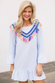 fun blue striped dress tassel dress ruffle dress 34 00