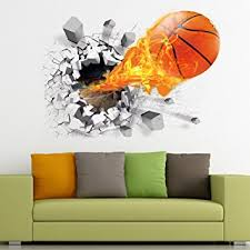 Poster Wallpaper For Bedrooms Amazon Com 3d Basketball Wall Sticker Decal Living Room Bedroom