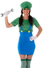 Womens Costumes Super Mario Luigi Plumber Ladies Fancy Dress 80s Video Game Womens