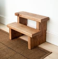 rustic solid oak step stool by knottedoakfurniture on etsy 85 00