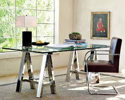 Pottery Barn Ava Desk by Mason Glass Top Desk Polished Nickel Williams Sonoma