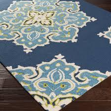 Octagon Outdoor Rug Blue Indoor Outdoor Carpet Floral Indoor Outdoor Carpets