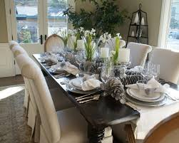 dining room table setting ideas which are lower and better at not blocking cross table