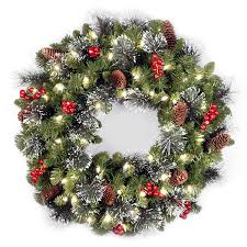 large outdoor wreath with lights sacharoff decoration