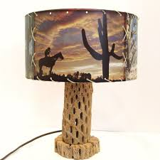 brown l shades table ls vintage cactus skeleton l with fiberglass shade western desert