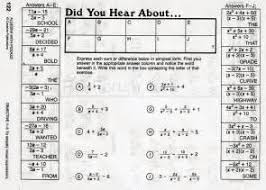 Did You Hear About Math Worksheet Algebra With Pizzazz Book E Answers 2017 Algebra 2 Book