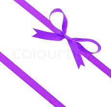 christmas ribbons purple ribbon shaped as a bow on a white background stock photo