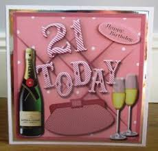 personalised handmade girly 21st birthday card daughter sister