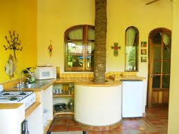 Yellow Kitchen Theme Ideas Kitchen Exciting Blue And Yellow Kitchen Decoration Using Wood Log