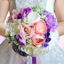 bouquets for wedding vini artificial wedding flowers bridal bouquet purple pink
