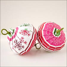 paper christmas balls made from heavy cardstock type of scrapbook