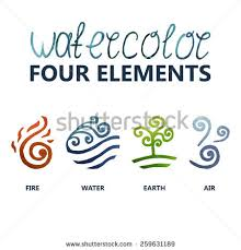 four elements watercolor water earth stock vector 259631189