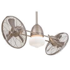 dual fan ceiling fan f402 bnw gyro wet brushed nickel outdoor dual ceiling fan by minka