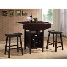 Modern Drop Leaf Table Dark Brown Wood Drop Leaf Pub Set By Baxton Studio Free Shipping