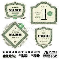 vector money and dollar frame set