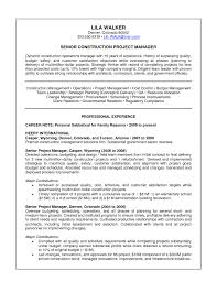 project management resume resume sle project management experience new senior construction