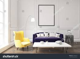 interior living room purple sofa yellow stock illustration