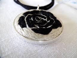 black rose necklace images Embroidered black rose necklace kathy halper art embroidery jpg