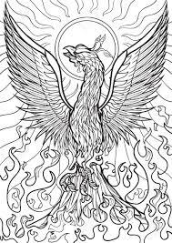 coloring book illustration tatto set phoenix royalty free