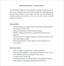 web developer job description template u2013 9 free word pdf format