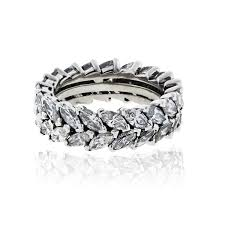 marquise diamond engagement rings platinum 6ctw double row marquise diamond eternity band ring