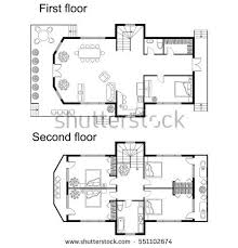 architectural plan floor plan furniture top view architectural stock vector 712570255