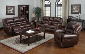 Brown Bonded Leather Sofa Living Room Leather Recliner Sectional Sofas With Recliners