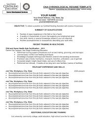 Chronological Resume Samples Pdf by Resume Cna Resume Sample