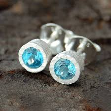 blue topaz stud earrings blue topaz dot silver stud earrings by embers gemstone jewellery