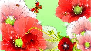 spring poppies summer butterfly wild bright flowers garden flower