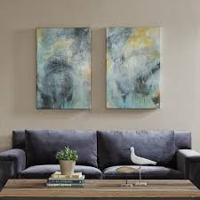 Serenity Blue Paint Blue U0026 Gold Abstract Wave Wall Art Set Of 3