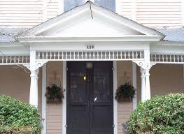 exterior exquisite image of front porch decoration using cream