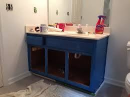 Blue Bathroom Vanity by Back At It Guest Bathroom Blue U0026 Brass What Emily Does
