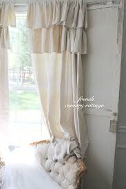 Diy Drop Cloth Curtains Double Ruffle Drop Cloth Panels French Country Cottage