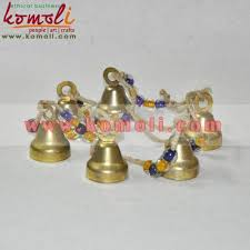 brass bell hanging string set of 6 small brass bells