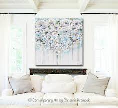 original art abstract painting floral light blue white cream