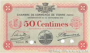chambre de commerce de vienne 50 centimes spécimen régionalisme et divers vienne 1915 jp