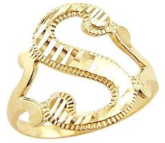 14k yellow gold initial letter ring s right