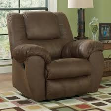 benchcraft quarterback canyon rocker recliner in brown faux