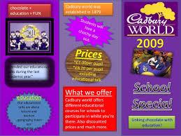 travel brochure template ks2 leaflet template cadbury world