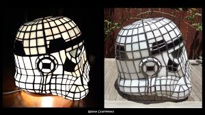 Imperial Home Decor Found Post Stormtrooper Helmet Table Lamp Stained Glass Star