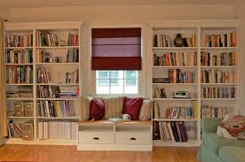 cool built in bookshelves feature white stained wooden bookshelves winning built in bookshelves come with white stained wooden bookshelves with bay window and green fabric
